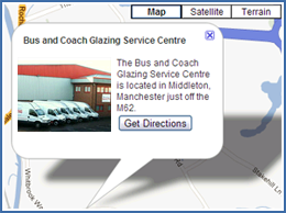 Bus and Coach Glazing Service Centre Map